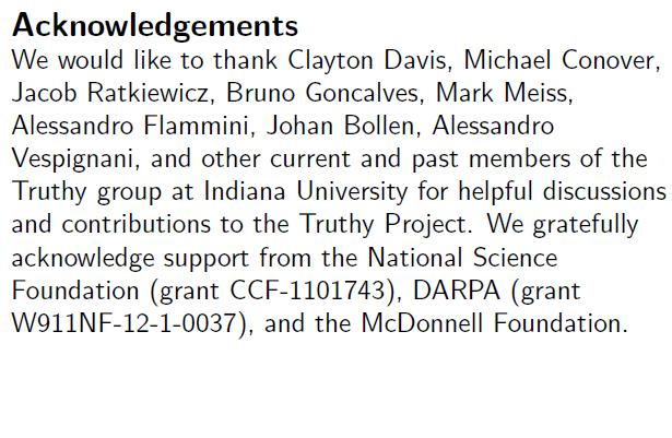 Screenshot from'Truthy' project paper acknowledging DARPA grant