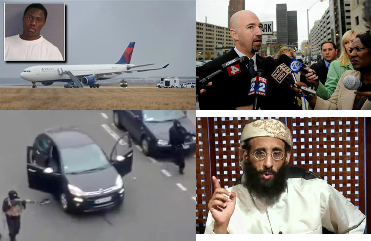 Clockwise from top left: 'Underwear Bomber', witness Kurt Haskell, Anwar al-Awlaki, Paris gunmen