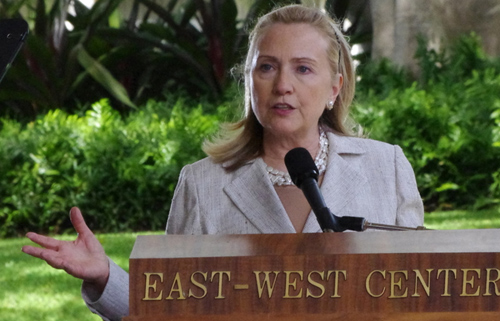 "US Secretary of State Hillary Clinton speaking at ""America's Pacific Century"" at the East-West Center in Honolulu November 10, 2011. (Image credit: China Daily)"