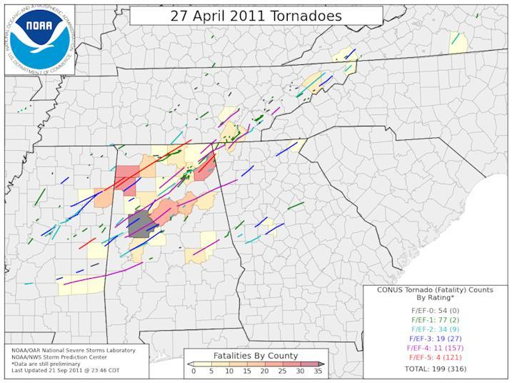 "Tornado tracks from the April 27, 2011 super outbreak which killed an estimated three hundred and sixteen people. On the morning of April 27, 2011 a PDF image the Obama administration claims is a scan of President Obama's Hawaii ""Certificate of Live Birth"" was released at WhiteHouse.gov."