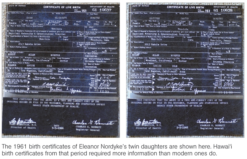 "The Honolulu Advertiser published this image and accompanying caption, which depict two alleged Hawaii ""Certificates of Live Birth"" for Eleanor Nordyke's twin daughters."