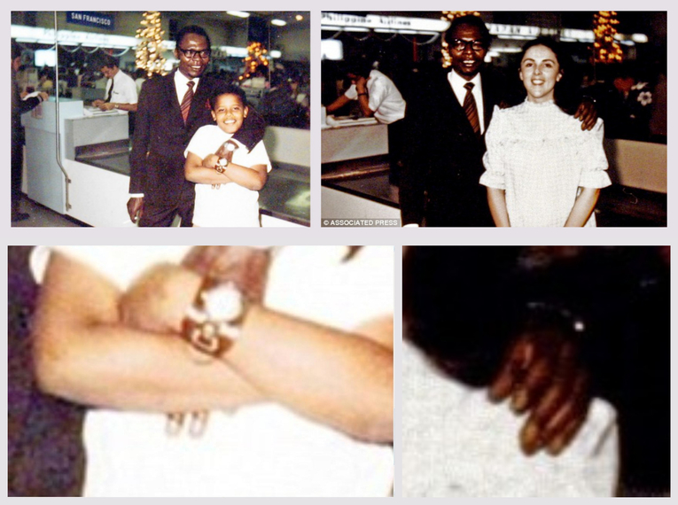 A fingernails mismatch between the left 'hands' of Barack Obama Sr. in two photos allegedly taken at the Honolulu International Airport when President Obama was in the 5th grade reveal that the images are likely digital creations. (Image credits AP/Obama for America, image of Sr. and Jr. also distributed by Reuters) (CLICK TO ENLARGE)