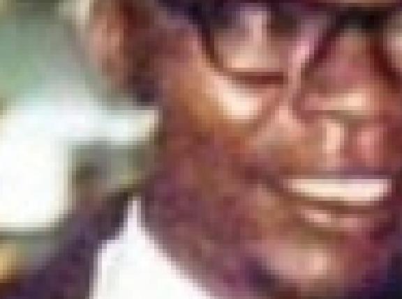 Close-up reveals background light bleeding into Obama Sr.'s neck.
