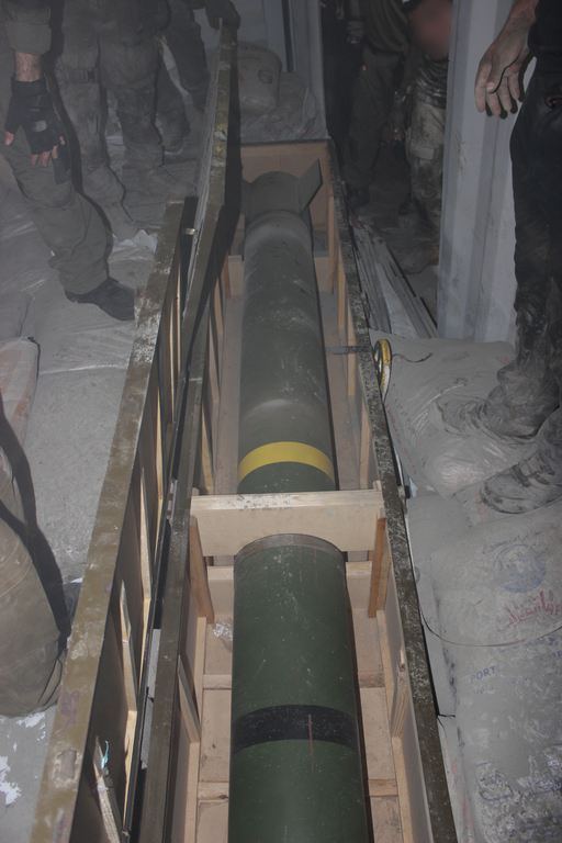 M-302 heavy rocket seized from the Klos-C container ship by Israel Defense Force commandos on March 4, 2014 during Operation Full Disclosure. (Image credit: Israel Defense Force)