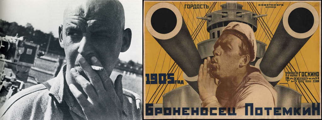 1935 photo of Soviet propaganda graphic designer Alexander Rodchenko (L) and a promotional poster he designed for silent propaganda movie Battleship Potemkin (R). (Image credit (L) Wikimedia Commons)