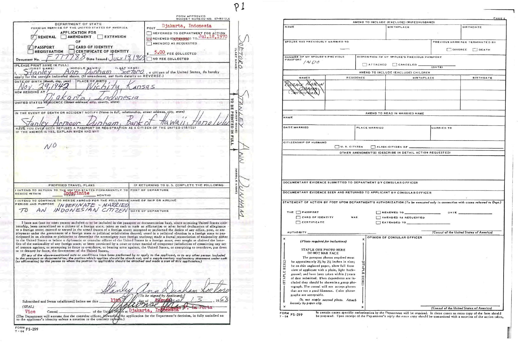Stanley Ann Dunham Soetorou0027s 1968 Application To Renew Her U.S. Passport.  Dunham Was Preparing To  Barack Obama Resume