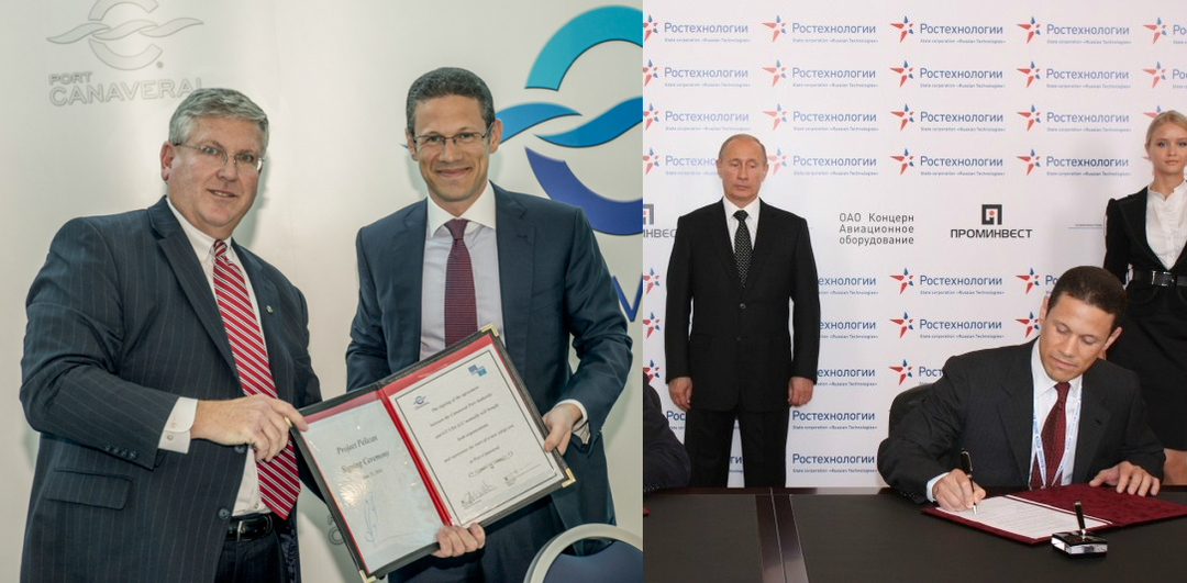 Canaveral Port Authority CEO John Walsh with Crescent Enterprises CEO Badr Jafar (left image) Russian Prime Minister Vladamir Putin with Badr Jafar (right image)