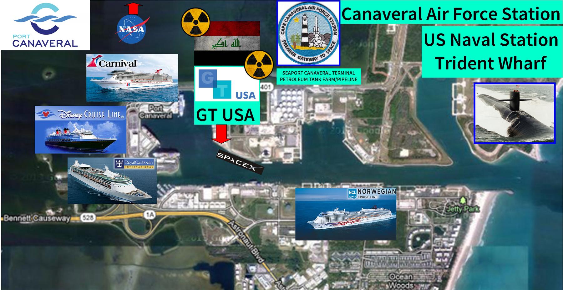 Map of Port Canaveral indicating locations of GT USA container terminal, national security assets, critical infrastructure, SpaceX Falcon 9 barge and cruise ship terminals