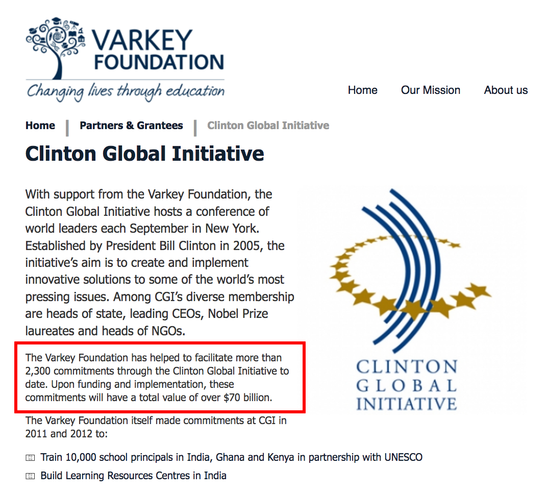 Varkey GEMS Foundation $70 Billion for Clinton Global Initiative