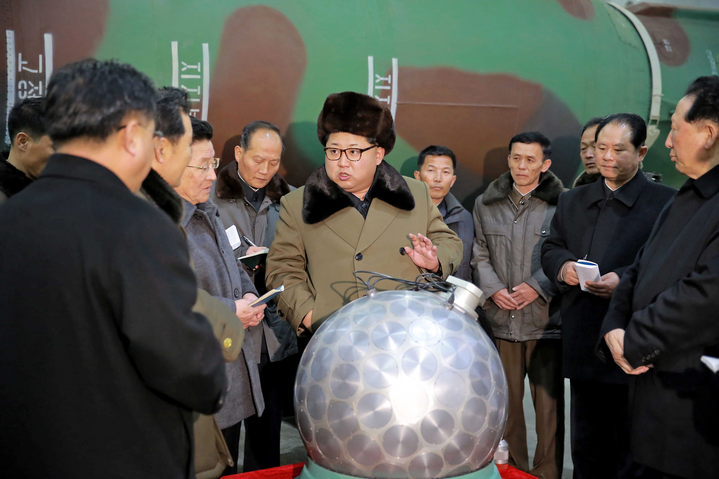 North Korean dictator Kim Jong-un appeared on North Korean television with what appears to be a spherical miniaturized nuclear weapon