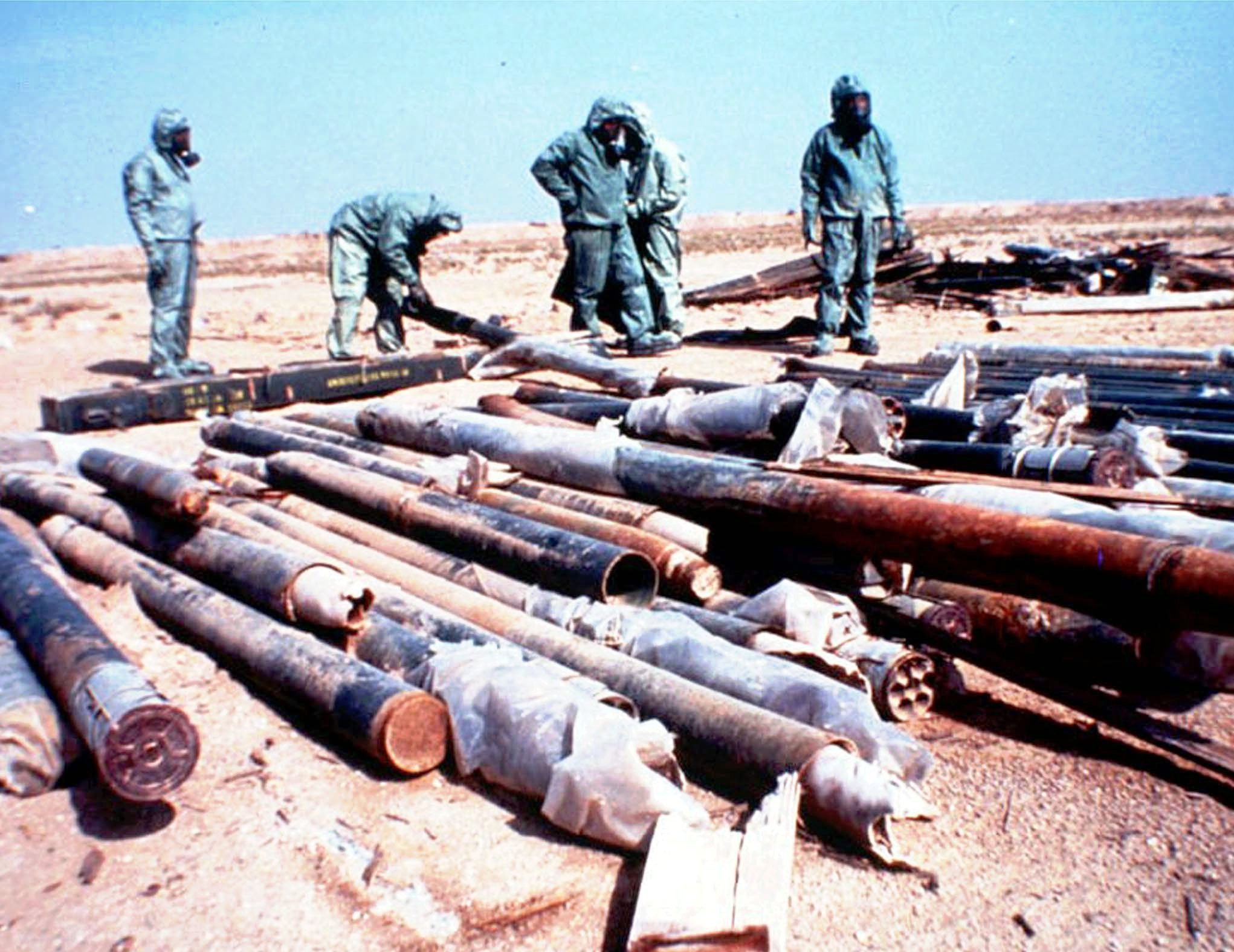 United Nations technicians ready Iraqi nerve agents weapons for elimination (Image: British Ministry of Defense)