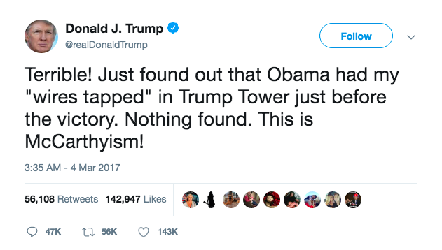 Donald Trump Twitter President Obama Wiretap
