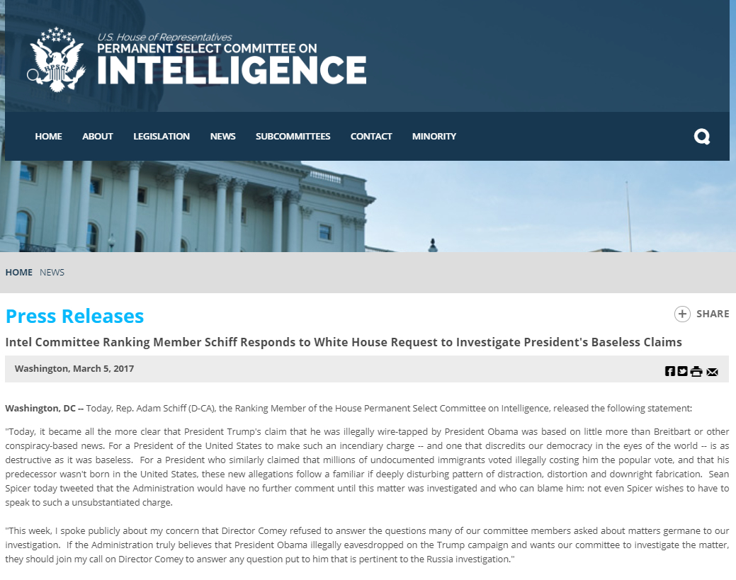 HOUSE INTELLIGENCE COMMITTEE PRESS RELEASE MARCH 5 2017 MEMBER SCHIFF RESPONDS TO WHITE HOUSE REQUEST TO INVESTIGATE PRESIDENT TRUMP'S BASELESS CLAIMS